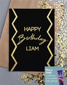cards: Personalised Gold Geo Birthday Card!