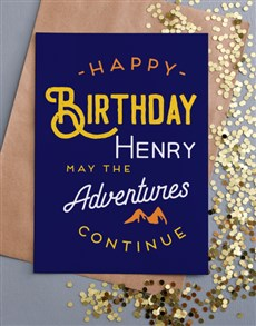 cards: Personalised May The Adventure Continues Card !