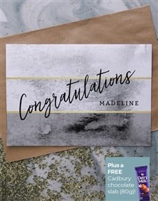 cards: Personalised Grey And Gold Congratulations Card!