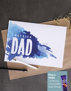 cards: Personalised Dad Blue Splash Card!