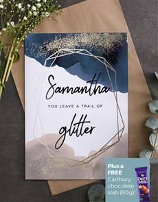cards: Personalised You Leave Glitter Card!