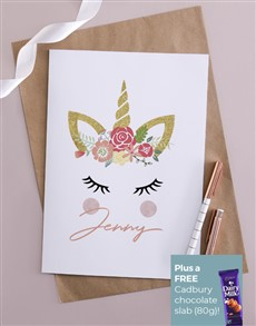 cards: Personalised Unicorn Crown Greeting Card!