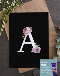 cards: Personalised Pink Rose Initial Card!
