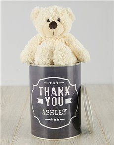 gifts: Personalised Black and White Thank You Teddy Tin!