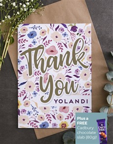 cards: Personalised Watercolour Flowers Thank You Card!