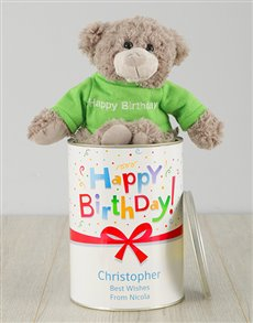 gifts: Personalised Birthday Gift Wrapped Teddy Tin!