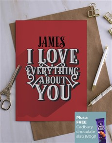 cards: Personalised Love Everything About You Card!
