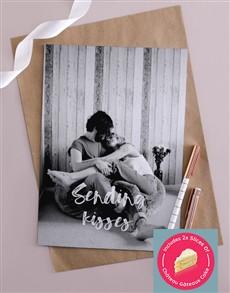 cards: Personalised Sending Kisses Portrait Card!