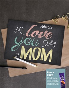cards: Personalised Love You Mom Chalk Card!