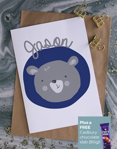 cards: Personalised Blue Bear Illustration Card!