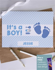 cards: Personalised Little Boy Footprints Card!