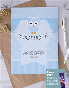cards: Personalised Hoot Hoot Baby Boy Card!