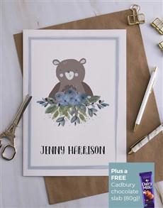 cards: Personalised Blue Border Floral Bear Card!