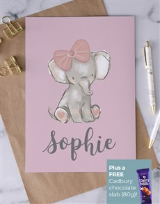 cards: Personalised Baby Girl Elephant Card!