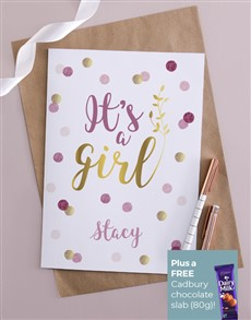 cards: Personalised Its A Girl Confetti Card!