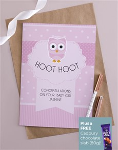 cards: Personalised Hoot Hoot Baby Girl Card!