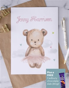 cards: Personalised Teddy Ballerina Card!
