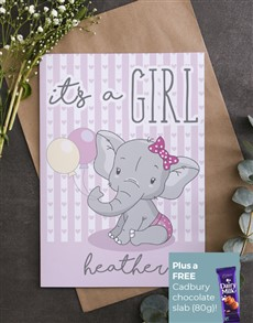 cards: Personalised Its A Girl Elephant Card!