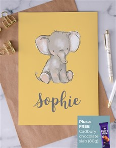 cards: Personalised Neutral Baby Elephant Card!
