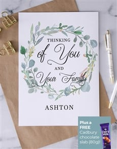 cards: Personalised Thinking Of Your Family Wreath Card!