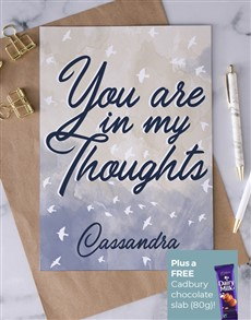 cards: Personalised In My Thoughts Sympathy Card!