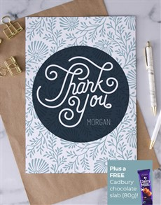 cards: Personalised Blue Blooms Thank You Card!