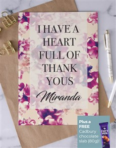 cards: Personalised Heart Full Of Thanks Card!