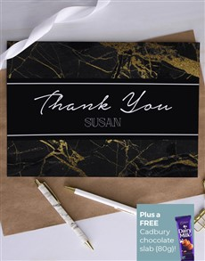 cards: Personalised Gold Marble Thank You Card!