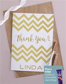 cards: Personalised Gold Chevron Thank You Card!