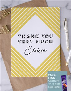 cards: Personalised Yellow Diamond Thank You Card!