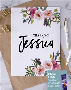 cards: Personalised Beautiful Blooms Thank You Card!