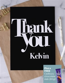 cards: Personalised Black And White Thank You Card!