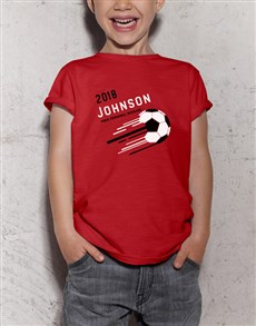 gifts: Personalised Soccer Kids Red T Shirt!