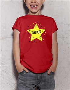 gifts: Personalised Star Kids Red T Shirt!