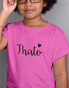 gifts: Personalised Glitter Heart Kids Pink T Shirt!