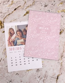 gifts: Personalised Pink Floral Wall Calendar!