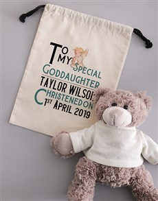 gifts: Personalised Teddy in Angelic Drawstring Bag!