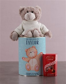 gifts: Personalised Christening Teddy Tin!