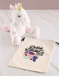 gifts: Personalised Unicorn Teddy And Drawstring Bag!