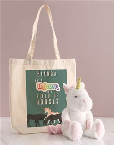 gifts: Personalised Unicorn Teddy And Tote Bag!