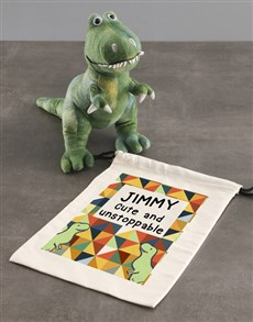 gifts: Personalised Dinosaur Teddy With Drawstring Bag!