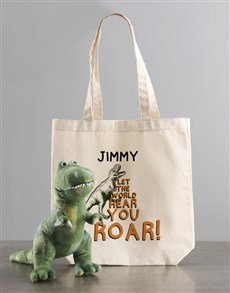 gifts: Personalised Dinosaur Teddy With Tote Bag!