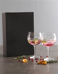 gifts: Personalised Family Name Gin Glass Set!