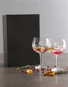 gifts: Personalised Surname And Initial Gin Glass Set!