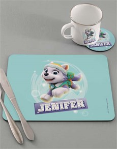 gifts: Personalised Paw Patrol Everest Dinner Set!
