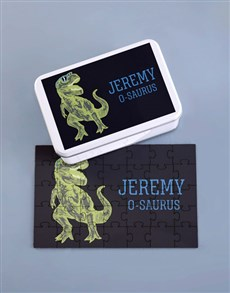 gifts: Personalised Dino Rex Wood Puzzle Set!