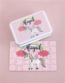 gifts: Personalised Rainbow Unicorn Wood Puzzle Set!