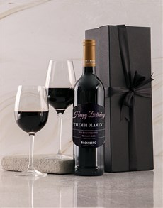 gifts: Personalised Black Backsberg Birthday Giftbox!