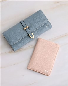 gifts: Personalised Blue Purse with Passport Holder !