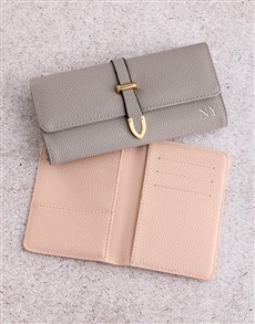 gifts: Personalised Grey Purse with Passport Holder !